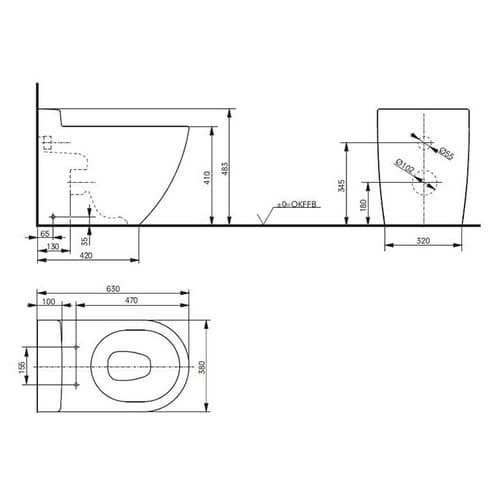NC Унитаз  выпуск в стену, размер 63x38x48Н, цвет белый