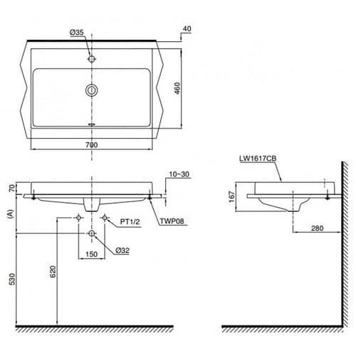 CONTEMPORARY Раковина c  1 отв. для смесителя, размер 70х46х7Н , цвет белый