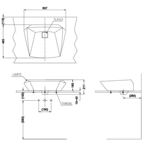 TOTO Jewelhex Раковина 607x483x211(160)мм, накладная, без отв.под смеситель и  перелива, без донного клапана DH446VE, с покрытием CeFiONte, цвет:белый
