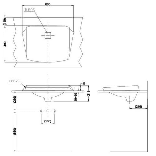 TOTO Jewelhex Раковина 685x490x210(70)мм, полувстраив, без отв.под смеситель и  перелива, без донного клапана DH446VE, с покрытием CeFiONt, цвет:белый