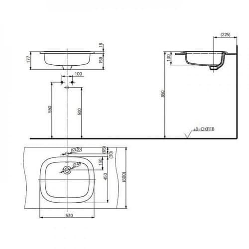 TOTO PUBLIC Раковина 530x450x177мм, встраиваемая сверху, без отв.под смеситель, с переливом, CeFiONtect, цвет:  белый