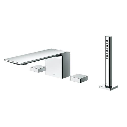 ZL Смеситель для ванны в борт на 4 отверстия в комплекте с ручным душем, хром