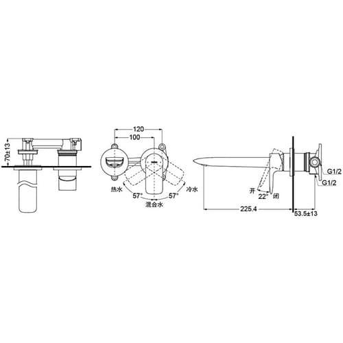 GA Смеситель настенного монтажа для раковины, хром