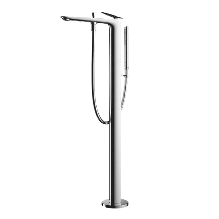 ZA Смеситель напольный для ванны в комплекте с ручным душем, хром