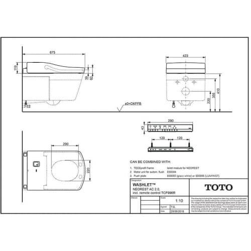 TOTO NEOREST AC Унитаз подвесной 423x666x410 мм, без сиденья (подходит: TCF996WG) безободковый, CeFiONtect, Tornado Flush  цвет: белый